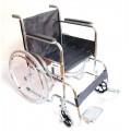 รถเข็นผู้ป่วย Wheelchair เหล็กชุบ พับได้ รุ่นมาตรฐาน - สีดำ หนังเทียม (เหมือนที่ใช้ในโรงพยาบาล)