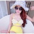 ชุดว่ายน้ำ ทูพีช สีเหลือง  บราติดดอกไม้เดซี่สีขาว ตะขอปรับระดับ กางเกงเอวสูง เจาะข้าง Size S, M