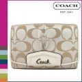 กระเป๋าสตางค์ COACH ASHLEY SIGNATURE SATEEN COMPACT WALLET 48080