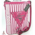 กระเป๋าสะพาย GUESS CANARY ISLAND PINK STRIPE CROSSBODY BAG