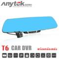 Anytek รุ่น:T6-สีดำ กล้องกระจกมองหลัง 2 กล้อง 1080P FHD DVR  มี WDR  สีดำ