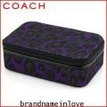 กล่องใส่เครืองประดับ COACH Daisy Ocelot Leopard Signature Jewelry Box Case Purple F62903