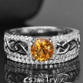 แหวนพลอยแท้ แหวนเงิน925 พลอยซิทรินธรรมชาติ สีเหลืองทอง ตกแต่งด้วยเพชร cz ชุบทองคำขาว
