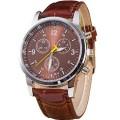 Best นาฬิกาข้อมือชาย สีน้ำตาล สายหนังพียู