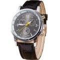 Best นาฬิกาข้อมือชาย สีดำ สายหนังพียู