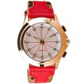 Women Watch นาฬิกาข้อมือผู้หญิง Leopard Artificial Red Leather Strap Watch