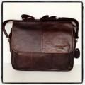 กระเป๋าสะพายหนังแท้ฝาหน้าใส่ipadหรือA4แบบฟิตๆสีน้ำตาล