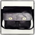 กระเป๋าเอกสารโน๊ตบุ๊คใหญ่หนังแท้สีดำกระเป๋ากุญแจคู่ฝาหน้า
