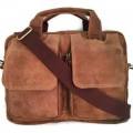 กระเป๋าสะพายหนังแท้รุ่นเอกสารA4สีน้ำตาลฟอกฝาดเป๋าคู่เรียบ