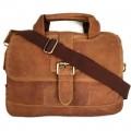 กระเป๋าสะพายหนังแท้เอกสารA4สีน้ำตาลฟอกฝาดเข็มขัดหน้า
