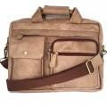 กระเป๋าสะพายหนังแท้รุ่นเอกสารA4สีฟอกงา2กระเป๋าหน้า
