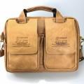 กระเป๋าสะพายหนังแท้เอกสารA4สีแทนกระเป๋าคู่