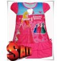 ชุดกระโปรงเจ้าหญิงสีชมพูผ้ามัน ใส่สบาย ลายการ์ตูนเจ้าหญิงด้านหน้า ชุดแซกกระโปรงสำหรับเด็กผู้หญิง