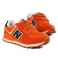 รองเท้าเด็ก : NB New balance รองเท้า Sneaker สีส้ม ปักตัว N ด้านข้าง พื้นด้านในสีขาว SH-5707372