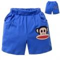 กางเกงเด็ก : กางเกงขาสั้นสีน้ำเงินสกรีน Paul Frank ขอบเอวยืด