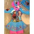 ลิขสิทธิ์แท้ ชุดว่ายน้ำ bodysuit กระโปรง ซิปหน้า แขนสามส่วน ลาย เจ้าหญิงหิมะ Frozen Princess มีถุง