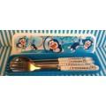ชุด set กล่อง ช้อน ส้อม ตะเกียบ ลาย โดเรม่อน Doraemon ขนาดกล่อง 8x2 นิ้ว