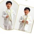ชุดออกงานเด็ก : Suit 5 piece set เซต 5 ชิ้น เสื้อสูทสีขาวแต่งแถบสีทอง เสื้อกั๊กสีทอง หูกระต่าย