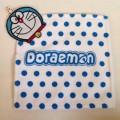 ผ้าขนหนู เช็ดมือ ลาย โดเรม่อน (Doraemon) เนื้อนุ่ม ขนาด 10.5x10.5 นิ้ว มีหูสำหรับแขวน หัวโดเรม่อนที่