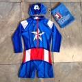 ชุดว่ายน้ำ bodysuit ซิปหน้า แถมถุงผ้า ลาย อเวนเจอร์ Avengers กัปตันอเมริกา Captain America