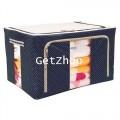 GetZhop กล่องผ้าเอนกประสงค์ ขนาด 88 ลิตร -  สีน้ำเงินลายจุด