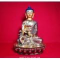 พระไภษัชยคุรุไวฑูรประภาตถาคต พระพุทธเจ้าหมอ เนื้อโลหะปิดทองแท้ๆ ขนาดฐานกว้า่ง 5.5 นิ้ว สูง 8.5 นิ้ว