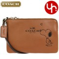 COACH X PEANUTS CORNER ZIP WRISTLET IN CALF LEATHER (F65193) BROWN