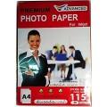กระดาษสติ๊กเกอร์ชนิดมัน A4 สำหรับอิงค์เจ็ท115แกรม แพ็ค 20 แผ่น ADVANCE