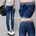 LW5705003 กางเกงยีนส์ big size  เวอร์ชั่นสาวเกาหลี (พรีออเดอร์)รอ 3 อาทิตย์หลังชำระเงิน
