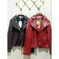 เสื้อคลุม แจ็คเก็ต เสื้อหนังเท่ๆ ต้อนรับลมหนาว สีแดง/สีน้ำตาลเข้ม พร้อมส่ง