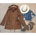 เสื้อคลุม เสื้อแจ็คเก็ต สวยเท่ มีฮูท สีน้ำตาล พร้อมส่ง ราคาsaleสุดๆ