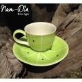 แก้วกาแฟ พร้อมจานรอง ลายเขียวมะนาว