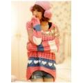 เสื้อกันหนาวไหมพรม สีชมพู แต่งลายหัวใจ อินเทรนด์มากสำหรับฤดูหนาวแขนยาว น่ารักๆ [MK-1307]