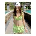 ชุดว่ายน้ำทูพีช สีเขียวสดใส ยกทรงแต่งระบาย ดีเทลกระโปรงระบายเป็นชั้นๆ [MK-1599]