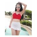 ชุดว่ายน้ำทูพีช ตัวเสื้อสีแดงสายคล้องคอ  ดีเทลกระโปรงสีขาวลายจุดแต่งระบายน่ารัก พรีออเดอร์ [MK-1752]