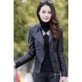 เสื้อแจ็คเก็ต เสื้อหนังแฟชั่น สีดำ หนังเงา แบบเท่ห์ๆ อินเทรนด์  MK2464