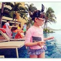 ชุดว่ายน้ำเด็ก Peach cocobag สีชมพู อายุ 2-9 ปี 5112