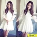 Dress ผ้าลูกไม้ขาว แขน 5 ส่วน ช่วงเอวตัดต่อผ้าเย็บจับจีบหน่อยๆ ทรงน่ารัก  BB4101