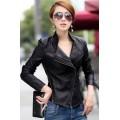 เสื้อแจ็คเก็ต เสื้อหนังแฟชั่น พร้อมส่ง สีดำ คอจีน ดีเทลด้วยปกโฉบเฉี่ยว แต่งซิบรูดด้านข้าง MK2151