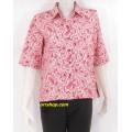 เสื้อผ้าคัตตอน ใส่ทำงาน ไซส์ 1 (มีกระเป๋า) ลายดอกไม้ลายนกยูงสีน้ำตาลแดงพื้นสีครีม