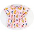 ชุดนอนเด็กหญิง ไซส์ 4-6 แขนสั้น ขายาว (คอระบาย) ผ้ายืด ลายเจ้าหญิงชุดสีชมพูดอกกุหลาบสีชมพู