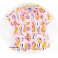 ชุดนอนเด็กหญิง ไซส์ 7-9 แขนสั้น ขายาว (คอระบาย) ผ้ายืด ลายเจ้าหญิงชุดสีชมพูดอกกุหลาบสีชมพู
