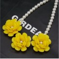 Yellow Flowers with Pearl Necklace