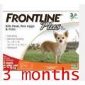 Frontline Plus สำหรับกำจัดหมัด ไข่หมัด และเห็บ ชนิดหยดหลัง สำหรับสุนัขน้ำหนักไม่เกิน 10 kg.3หลอด