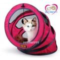 อุโมงค์แมว2in1 เป็นทั้งของเล่นและที่นอนให้แมวได้เพลิดเพลินสินค้านำเข้าสีชมพู สำหรับคนรักแมว