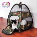 Cat tent เต็นท์แมว2in1ทรงสูงเป็นทั้งที่เล่นและที่นอน สำหรับคนรักแมวสีเขียวลายทหาร