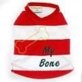 เสื้อสุนัข เสื้อยืดแดงขาวปักกระดูก My Bone ผ้าเนื้อดียืดและนุ่มมากยี่ห้อBUTTER size1เหลือขนาดเดียว