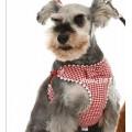 ชุดรัดอกสุนัขผ้าทวีตลายสก๊อต+สายจูง ด้านหลังประดับโบว์สินค้านำเข้าสีแดง size 3,4