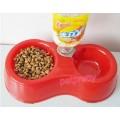 ที่ให้อาหารและน้ำสุนัขแมว ชนิดชามคู่ ชามน้ำใส่ขวดน้ำไหลออโต้ไม่ต้องเติมบ่อย สำหรับสุนัขแมวตัวเล็ก