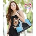 กระเป๋าใส่น้องหมาแมว แนวสปอร์ตหัวโผล่ได้ Pet Comerสีฟ้า สายสะพายไหล่ยาว สำหรับ1-5กก.